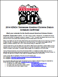 2014 Kenda Tennessee Knockout Schedule Confirmed