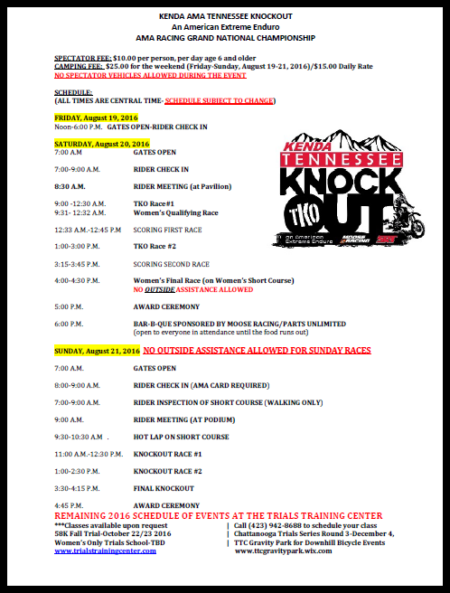 2016 TKO Spectator Information and Schedule