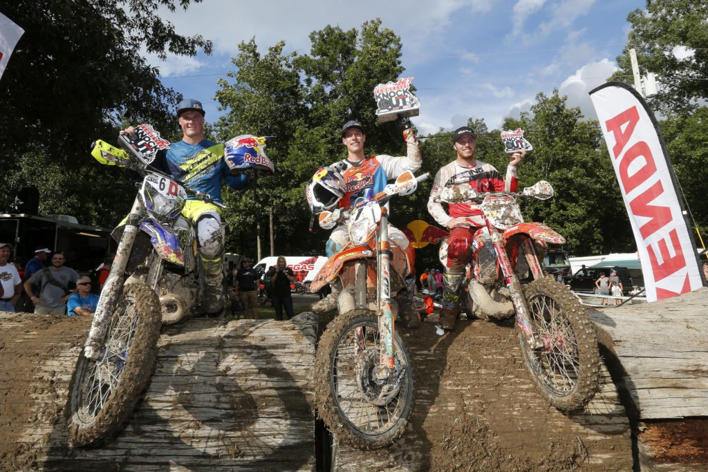 L to R: 2nd place, Wade Young, Sherco; 1st place, Cody Webb, KTM; 3rd place, Kyle Redmond, Beta